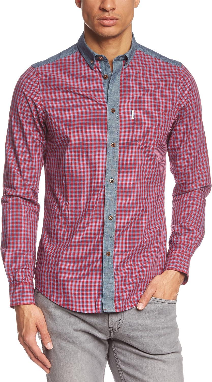 Ben Sherman - Camisa Regular fit de Manga Corta para Hombre, Talla L/XL, Color Rojo (letterbox Red): Amazon.es: Ropa y accesorios