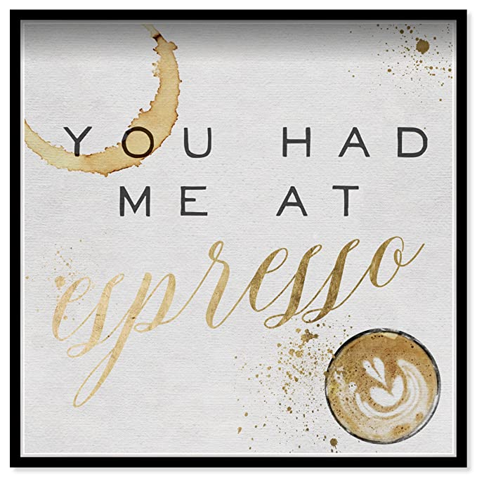 Amazon.com: Oliver Gal You Had Me At Espresso Gold Contemporary Framed Wall Art Print for Home Decor, 30