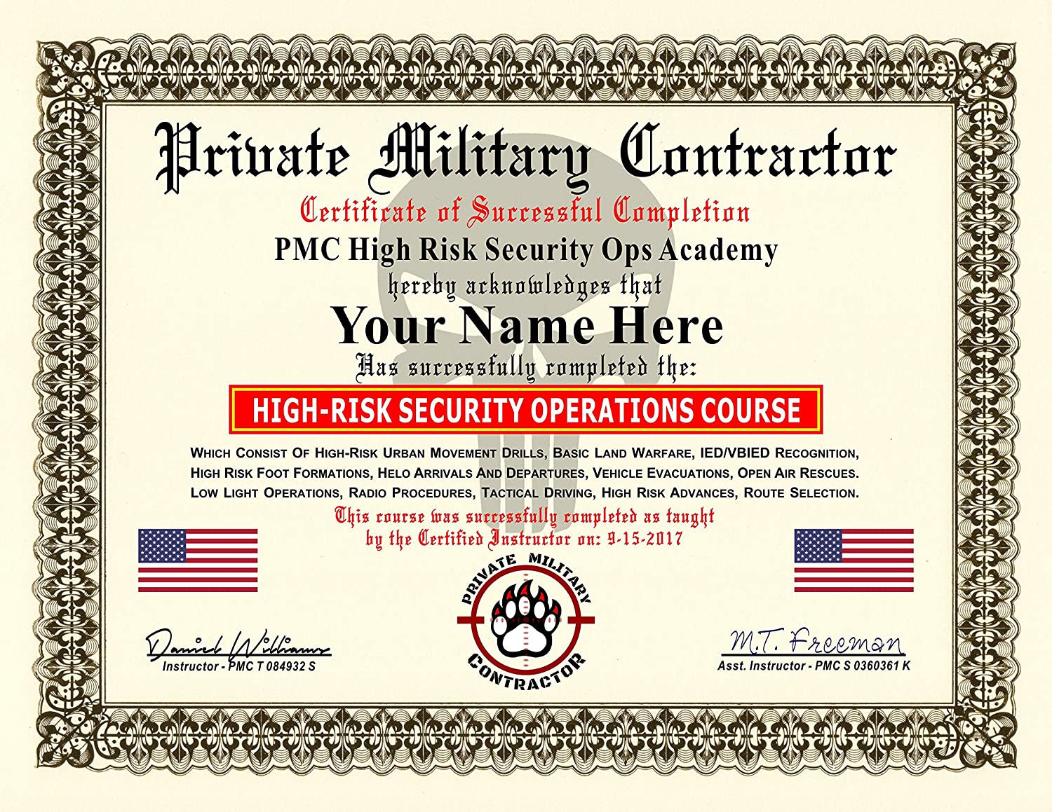 Amazon Private Military Contractor Diploma Certificate High