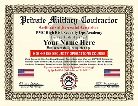 amazon com private military contractor diploma certificate high