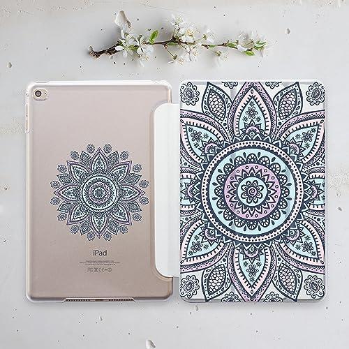 Amazon Com Mandala Henna Lotus Apple Ipad Case Pink Teal Mint Green