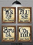 "Bathroom Wall Decor - Bathroom Phrase Art Prints - Set of Four 8""x10"" Prints - Great Home Decor Gift Idea"
