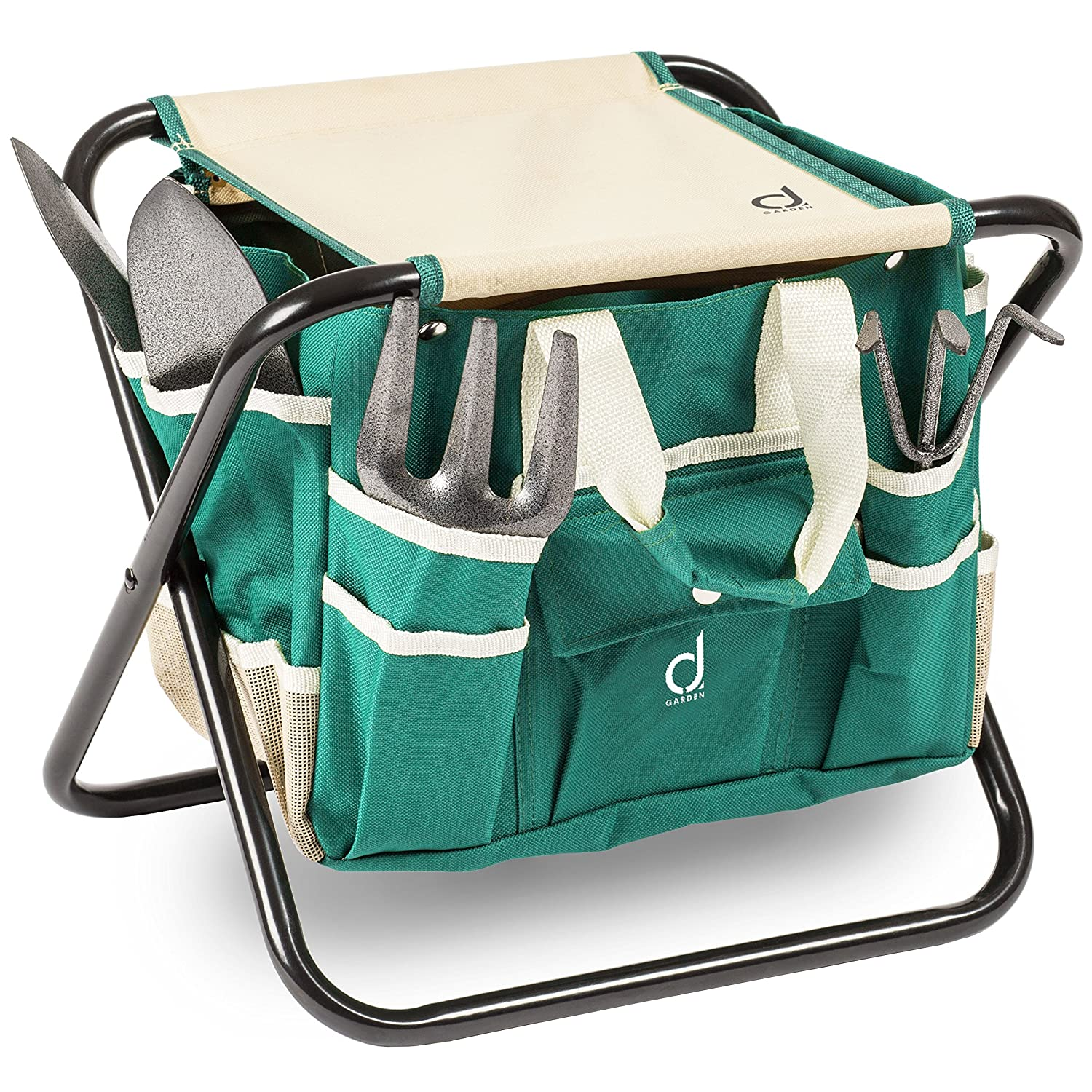 The Gardener's Tool Stool By Andrew James - Portable Folding Seat Complete With Gardening Tools In Detachable Storage Bag