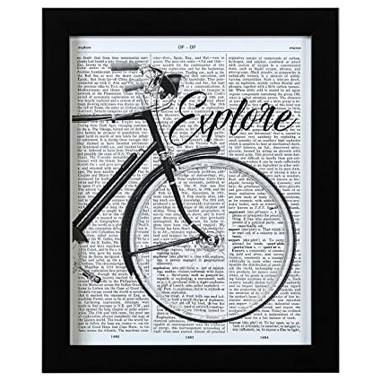 Amazon.com: Rivet Bicycle Explore Vintage Dictionary Print, Black ...