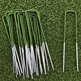Lawn World - 20 demi-vert, gazon artificiel piquets de fixation métal galvanise 150mm x 30mm x 3mm