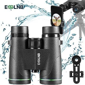 ESSLNB Prismaticos Profesionales 8x42 100/% Prism/áticos Impermeables BAK4 Prisma para Caza con Adaptador de Telefono Bolso y Correa