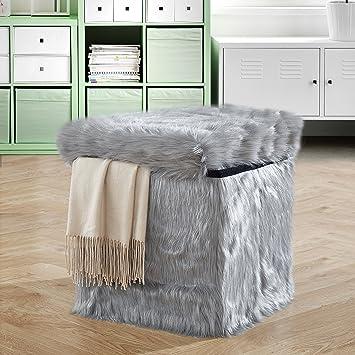 Admirable Amazon Com Urban Shop Mongolian Sit And Store Ottoman Grey Machost Co Dining Chair Design Ideas Machostcouk