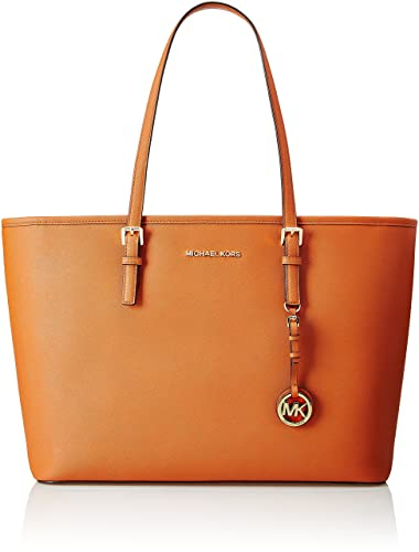 MICHAEL Michael Kors Jet Set Travel Leather Medium Top Zip Mult Funt Tote, Orange