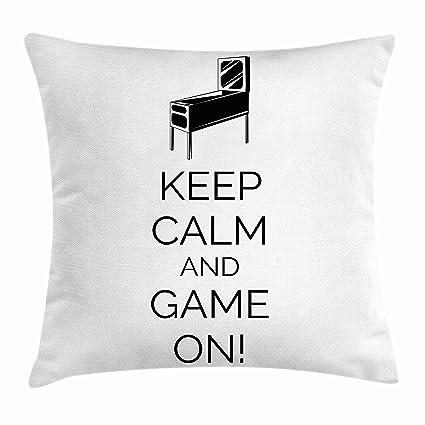 Keep Calm And manta almohada Funda de cojín por Ambesonne, máquina de Pinball Arcade Sala