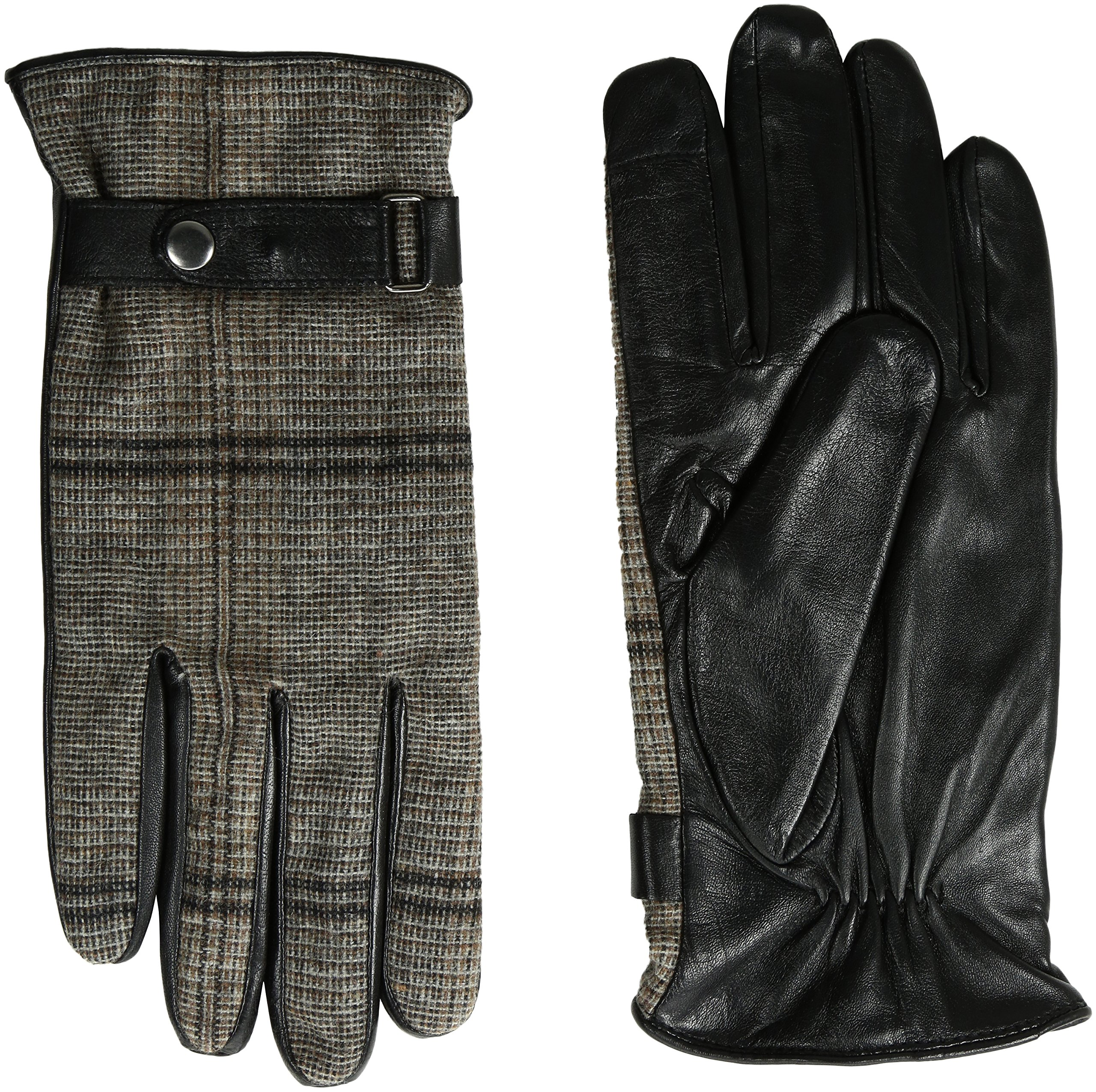 GII Men's Tweed and Fine Leather Touchscreen Gloves, Black/Tweed, Medium