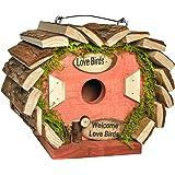 Gardirect Wooden Bird House, Bird Nesting Box, Natural Wooden Feeding Station
