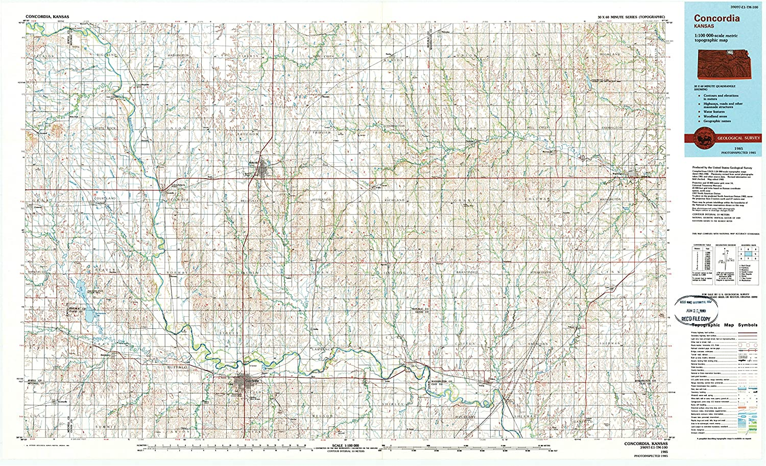 Concordia Kansas Map.Amazon Com Yellowmaps Concordia Ks Topo Map 1 100000 Scale 30 X