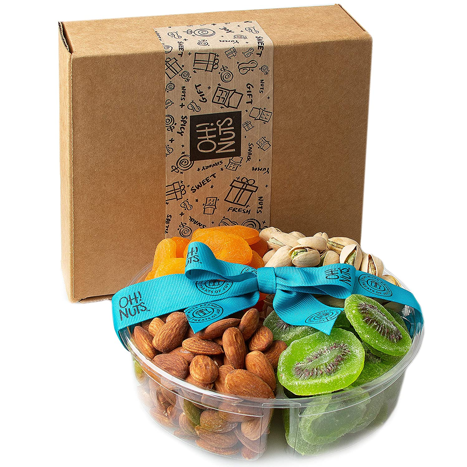 Oh! Nuts 4 Section Dried Fruits & Nuts Gift Platter for Mothers Day, Healthy Food Kosher Snack Box, Variety Fresh Assortment Tray, Perfect Healthy Gift for Mothers Day Gifting Idea