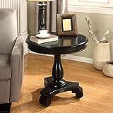Roundhill Furniture Rene Round Wood Pedestal Side Table, black