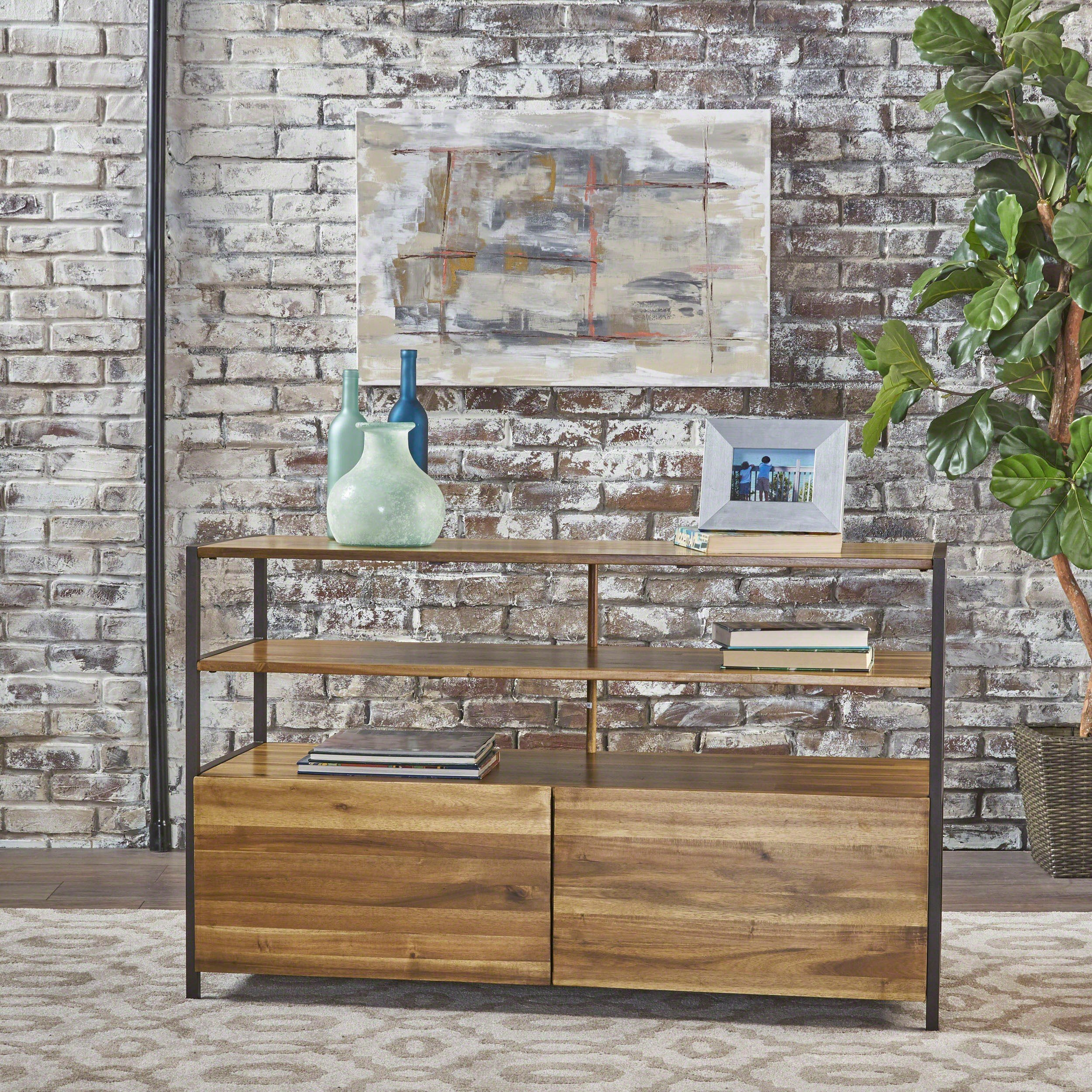 Flossie Natural Stained Acacia Wood Cabinet With Rustic Metal Finished Iron Accents