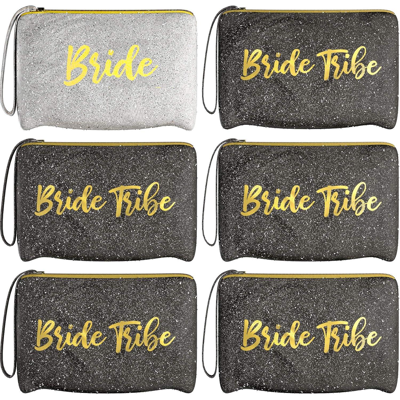 6 Piece Set   Black & Silver GLITTER ???? Bride Tribe Bridesmaid Canvas Cosmetic Makeup Clutch   Purse Gifts Bag for Women   Wedding Supplies Bridesmaids Proposal Box & Bachelorette Party Favors