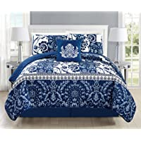 Mk Collection 3pc Bedspread Coverlet Quilted Floral White Navy Blue Over Size New #186
