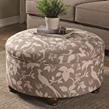 Coaster 500060 Home Furnishings Storage Ottoman, Grey/Off White