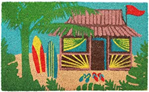 "Liora Manne Natura Coastal Beach Tiki Hut Multi Outdoor Welcome Coir Door Mat, 18"" X 30"""