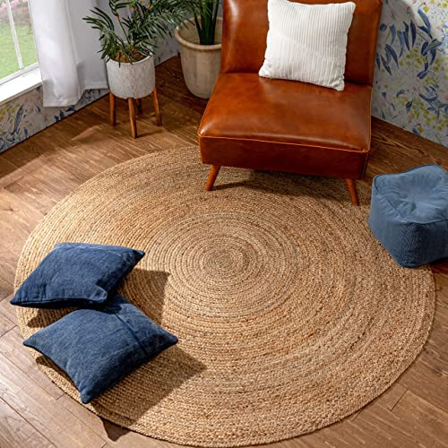 Well Woven Brienne Natural Color Hand-Braided Jute Area Rug 6' Round