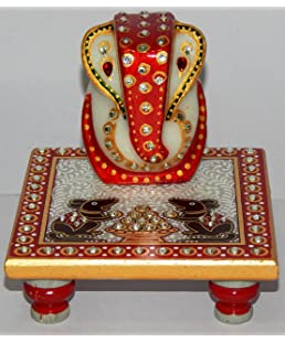 THE DIGITAL STORE White Marble Ganesh Chowki (Multi Color )