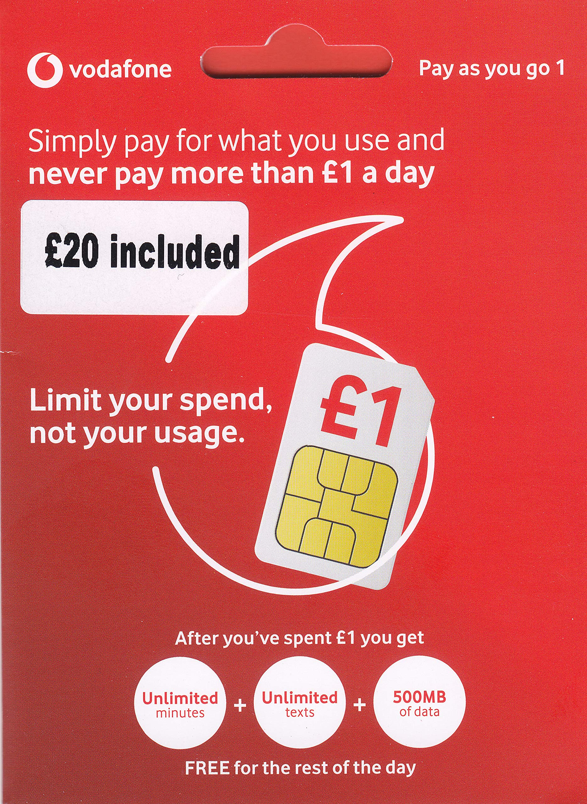 UK Vodafone SIM Card with £20 Credit preloaded, 4G Data, Voice mins and Texts to use in Europe and The UK by Vodafone