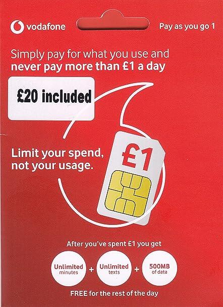 Tarjeta SIM de Vodafone del Reino Unido con 20 £ de crédito ...