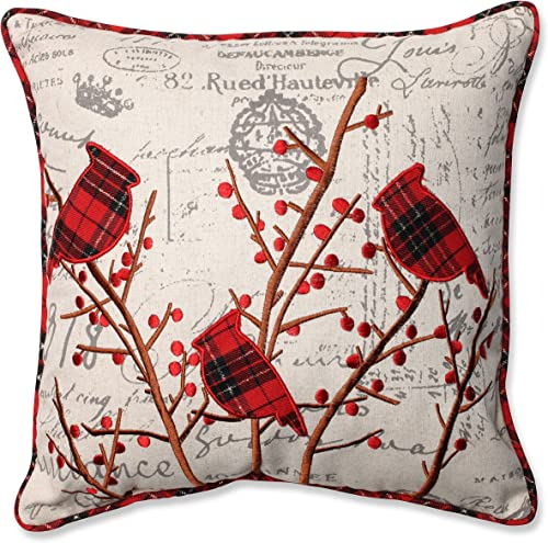 Pillow Perfect Holiday Embroidered Cardinals Throw Pillow, 16.5 x 16.5 , Red Grey