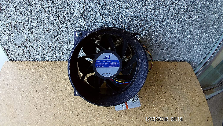 SPC plastics Antminer S1 S3 S5 S7 S9 T9 L3+120mm Fan Duct Cooling Shroud to 5 Inch Vent Hose (Qty 20, black)