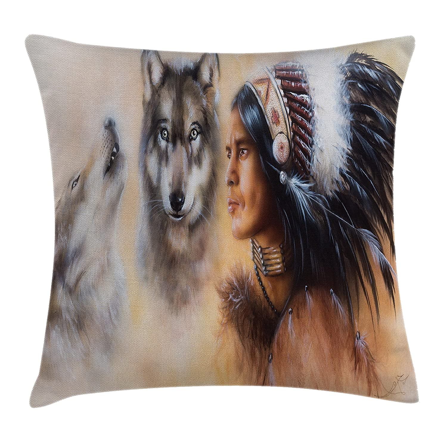 Blur Mystic Painting of Young Native Man Ethnic Feather with Wolves Ancient Ambesonne Native American Throw Pillow Cushion Cover 20 X 20 Inches Multicolor Decorative Square Accent Pillow Case