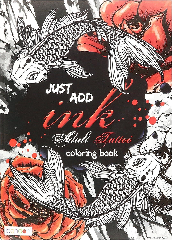 Amazon Com Bendon 40759 Tattoos Advanced Coloring Book Toys Games