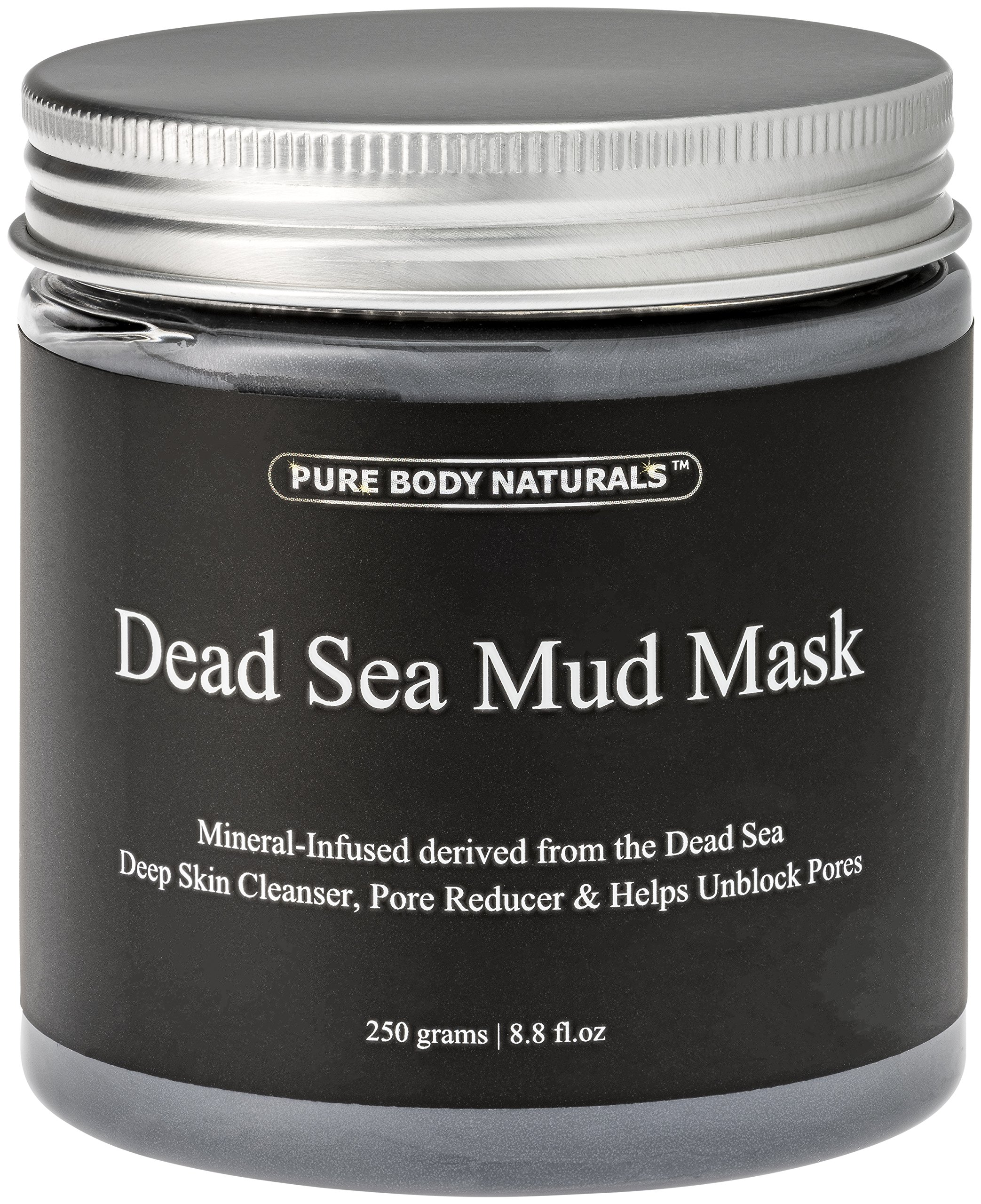 Pure Body Naturals Dead Sea Mud Mask for Face and Body, Purifying Face Mask for Acne, Blackheads, and Oily Skin, 8.8 Ounce by Pure Body Naturals