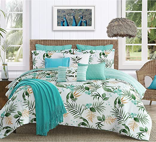 Pineapple Palm Print Bed In A Bag Full Comforter Set 7 Piece Polyester Material