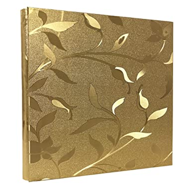 RECUTMS 600 Photo Picture Album PU Leather Cover Sewn Bonded Memo Album Slots Album Holds 4x6 Photos 5 Per Page Family Alum Gift for Mother Father (Gold L-Leaf)