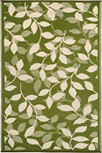 Fab Habitat Reversible Rugs   Indoor or Outdoor Use   Stain Resistant, Easy to Clean Weather Resistant Floor Mats   Bali - Forest Green & Cream (3' x 5')