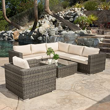 Henderson Outdoor 7 Piece Wicker Seating Sectional Set With Sunbrella  Cushions