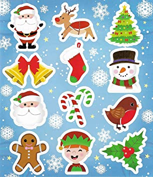 Christmas Stickers.12 Sheets Kids Party Bag Filler Xmas Christmas Stickers Free 3d Santa Stickers