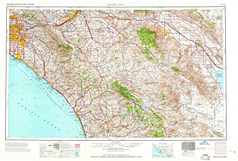 Santa Ana CA topo map, 1:250000 scale, 1 X 2 Degree,