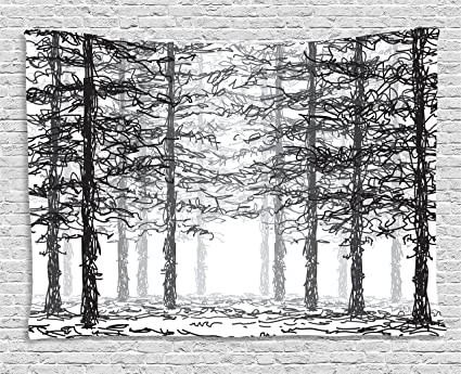 Amazon Com Ambesonne Forest Tapestry Monochrome Nature