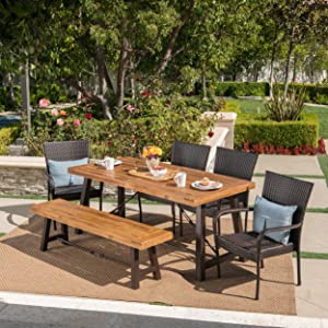 Christopher Knight Home Salla | 6 Piece Outdoor Acacia Wood Dining Set with Wicker Stacking Chairs | in Multibrown with Teak Finish