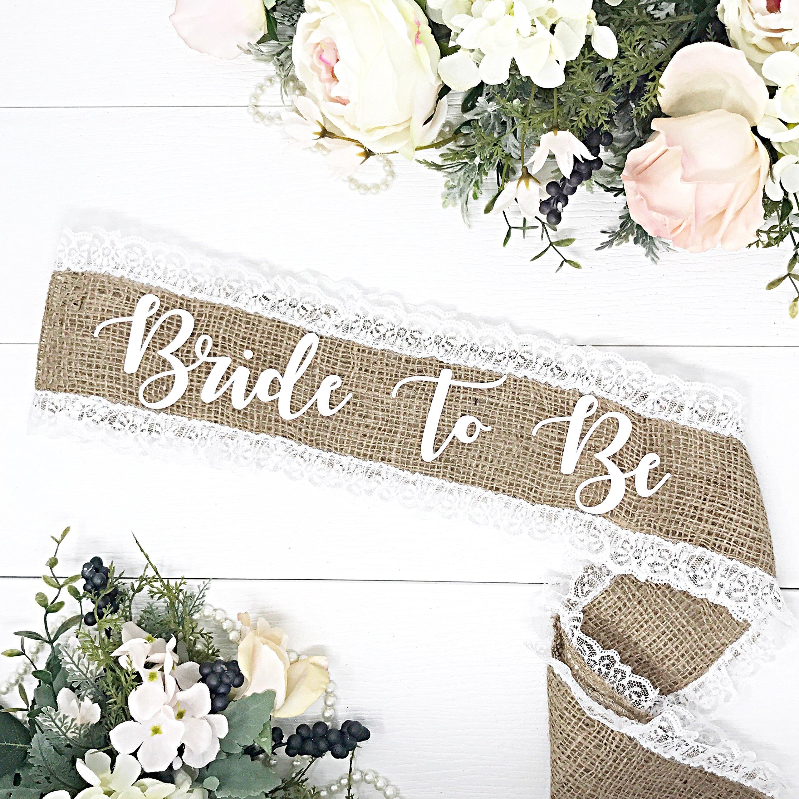 Burlap Bachelorette Sash - Burlap & White Lace