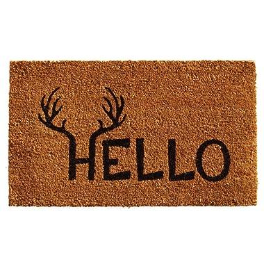 """Calloway Mills 121711729 Antler Hello Doormat, 17"""" x 29"""", Natural/Black"""