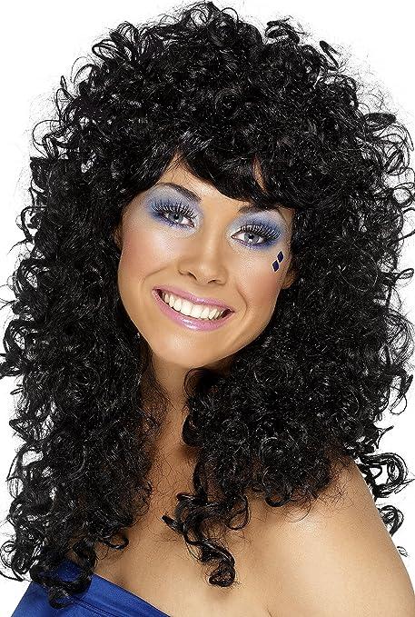 Smiffys Peluca de chica bonita bailona, negro, larga, rizada