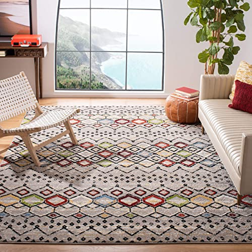 Safavieh Amsterdam Collection AMS108G Southwestern Bohemian Light Grey and Multi Area Rug 10' x 14'