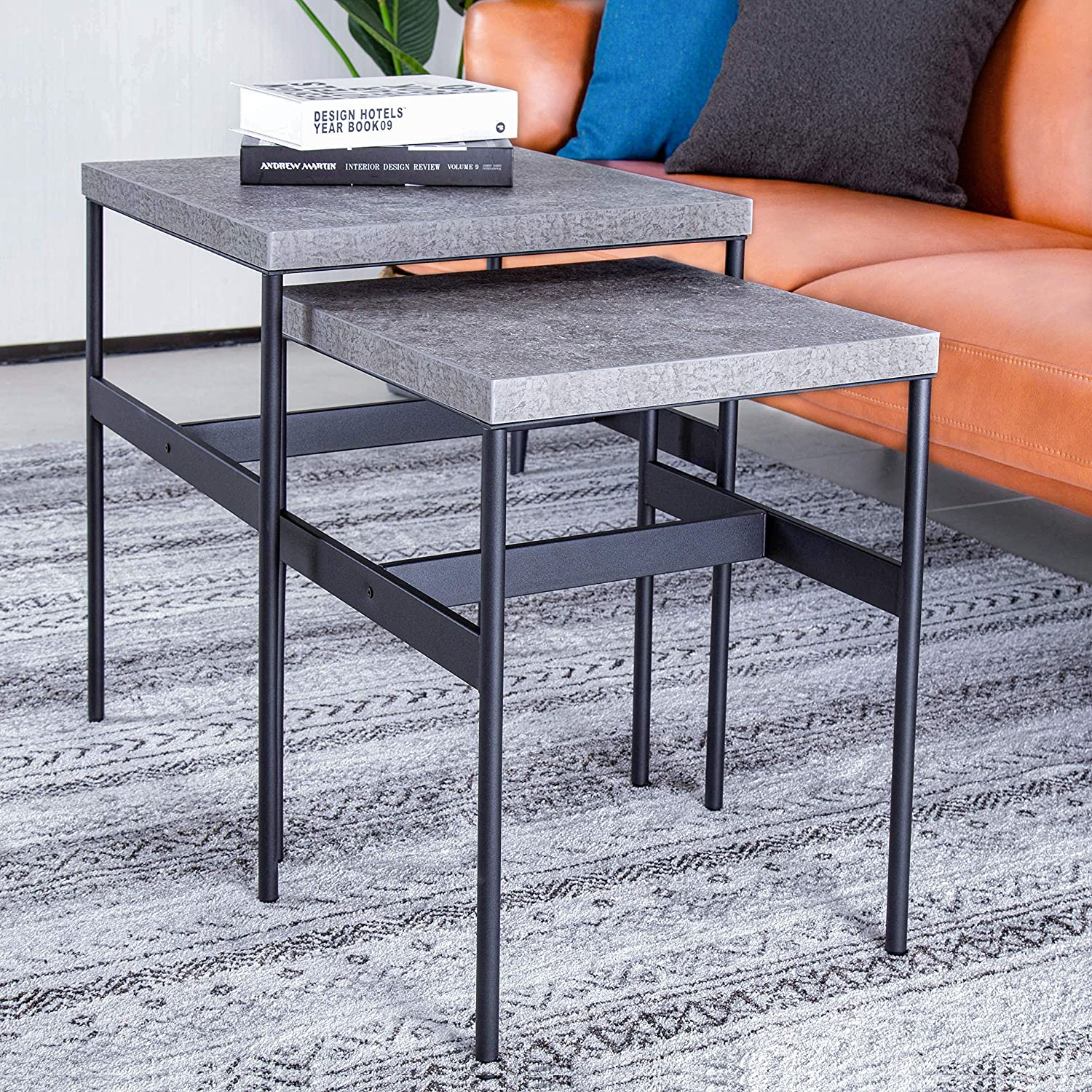 ALAMHI Modern Coffee Table 2 Nesting End Table Set Marble Print European Style Side Table Thickened Steel Frame for Living Room Sofa Laptop Decoration Home Office (Gray)