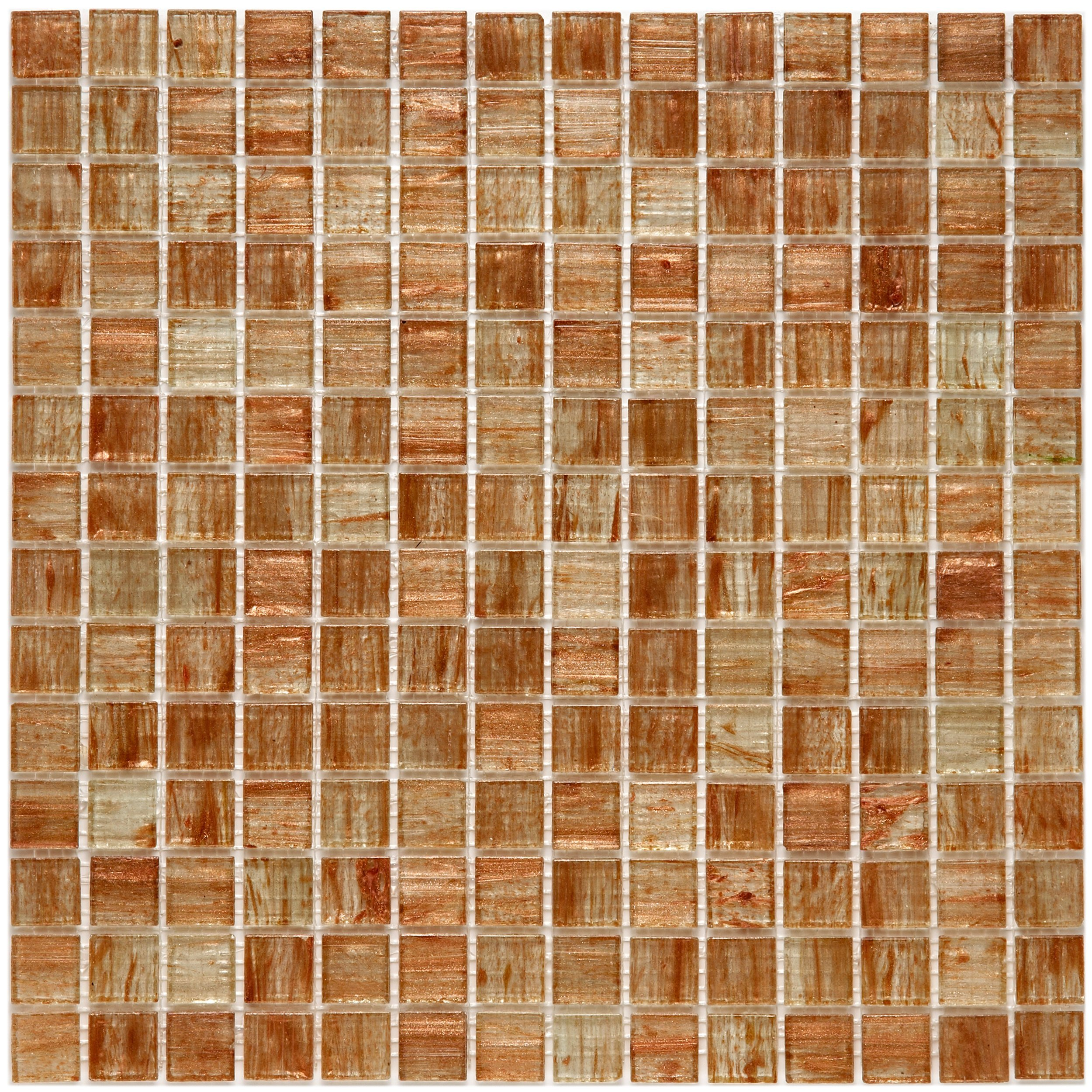 SomerTile GDRCOTAG Fused Glass Mosaic Wall Tile, 12'' x 12'', Brown/Tan/White/Copper/Gold by SOMERTILE