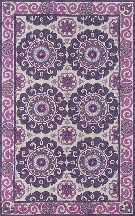 Amazon Com Momeni Rugs Suzani Hooks Collection 100 Wool Hand Hooked Traditional Area Rug 5 X 8 Purple Furniture Decor
