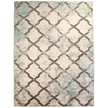 8 x 10 Modern Trellis Vintage Distressed Area Rug Living Rooms Open Spaces Rustic Ivory
