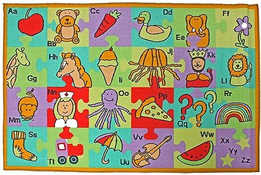 "J & M Home Fashions Kids Play Rug Educational Rug, Alphabet, 40"" by 60"""