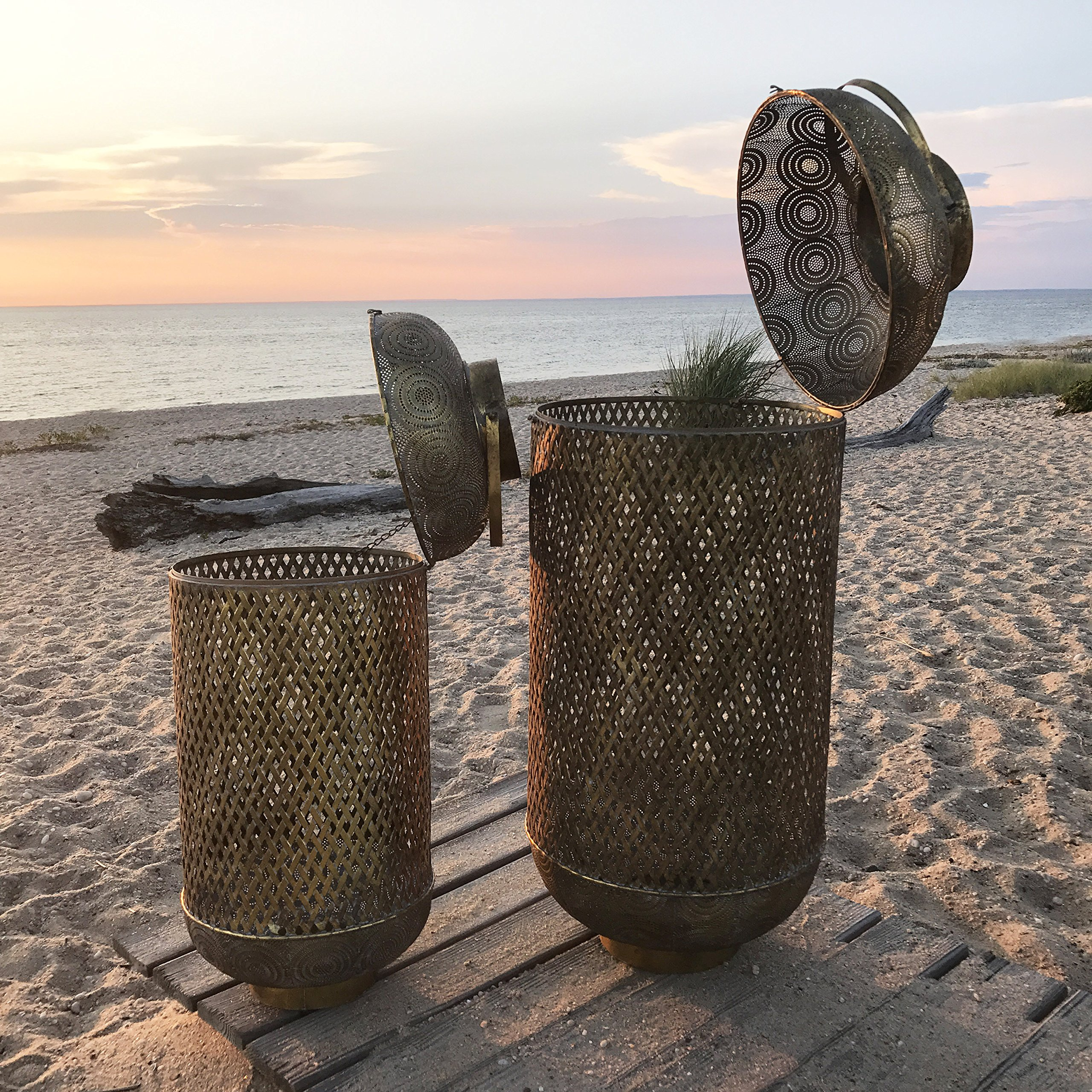 The Moroccan Temple Lanterns, Oversized Floor Hurricanes, Set of 2, For LED or Wax Candles, 3 Ft 4'' and 2 Ft 7'''' Tall, Brass Metal, Hinged Top, From the Global Chic Collection, By Whole House Worlds'' by Whole House Worlds (Image #2)